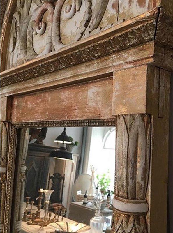 19th Century Swedish Antique Empire Mirror Interior