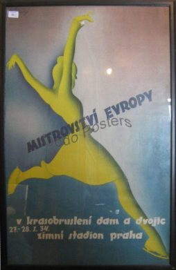 Antique Mistrovstvi Evropy Advertising Sports Poster