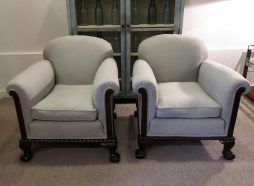 Antique Four English Country House Armchairs