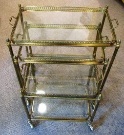 Mid-Century Nest of Three Brass Drinks Trolleys