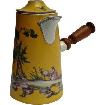 Antique 18th Century hand-painted Porcelain Chocolate Pot