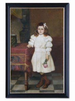 19th Century Oil Painting of Girl with Rose