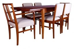 Gordon Russell Tulip Wood Dining Table and Six Chairs Mid Century Modern Design