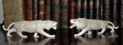 Antique Carved Ivory Lion and Lioness Circa 1900