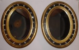 Antique Pair of Irish Style Oval Mirrors