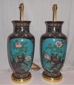 Antique Pair of Japanese Cloisonne Enamel Lamps