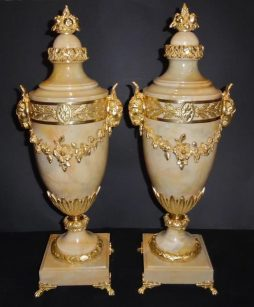 Antique Pair of French Ormolu Mounted Marble Cassolettes