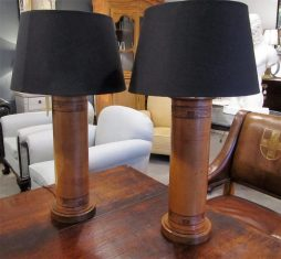 Mid-Century Pair of Embossed Leather Table Lamps