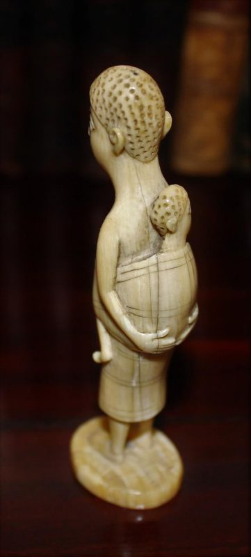 Charming African Antique Ivory Carving Of Mother And Baby