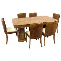 Harry and Lou Epstein Art Deco Dining Room Table and Six Chairs