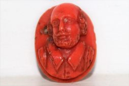 Very Fine Deeply Carved Antique Coral Cameo of Shakespeare Ideal as Ring Setting
