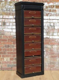 Antique 19th Century Parisian Ebonised & Tole Notary Cabinet