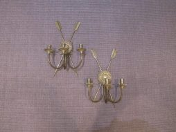 Antique Pair of Brass Wall Sconces