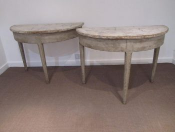 Antique Pair of Painted Pine Swedish Demi Lunes