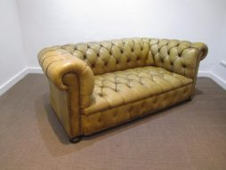 Mid-Century Petite Leather Chesterfield Sofa
