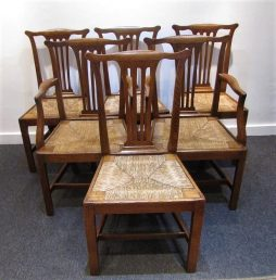 Antique Set of Six English Country Oak Dining Chairs
