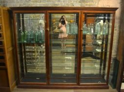 Large Antique 1920s Mahogany Shop Display Cabinet