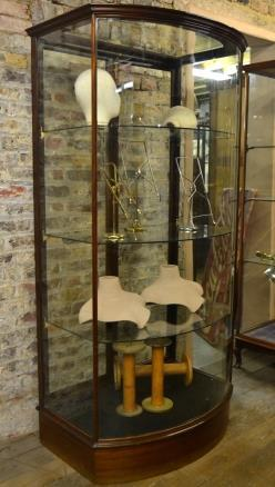 Bow Front Victorian Antique Shop Display Cabinet