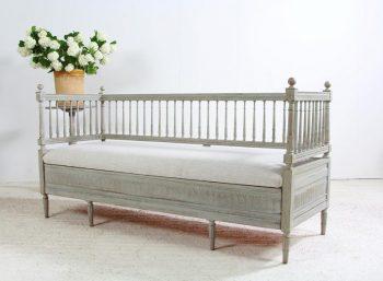 Antique Swedish Gustavian Sofa Bench in Belgian Linen