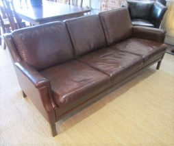 Mid-Century Three Seater Danish Leather Sofa
