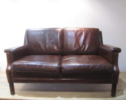 Mid-Century Two Seater Danish Leather Sofa