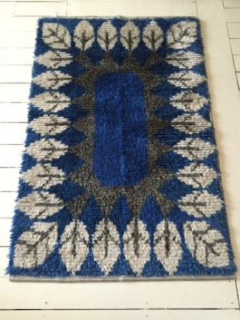 "1960's Swedish Hand knotted ""Rya"" Rug"