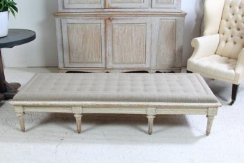 Antique Swedish Gustavian Bench in Hand Stitched Linen