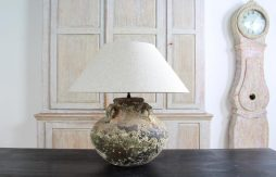 Hand Made Ceramic Lamp with Linen Shade