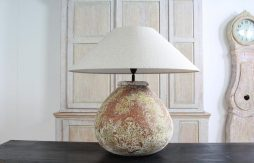 XXL Hand Made Ceramic Lamp with Linen Shade
