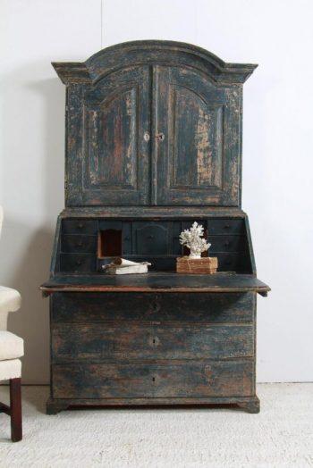 Antique Swedish 18th Century Rococo Secretary Bureau