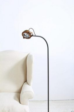 Elegant Copper and Metal Halogen Floor Lamp