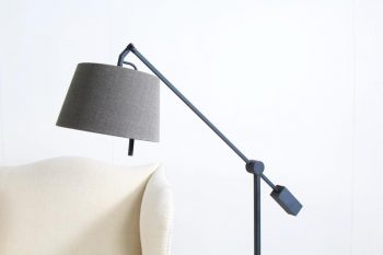 Contemporary Metal Floor Lamp with Linen Shade