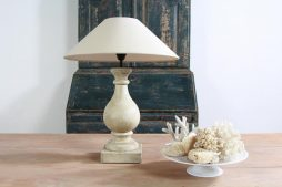 Stone Coloured Table Lamp with Linen Shade