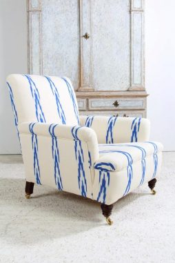English Country House Armchair in Ikat Fabric