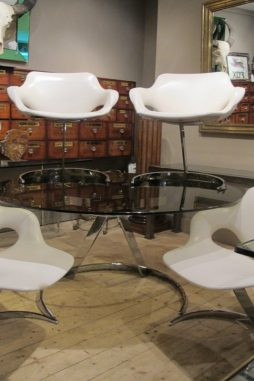 Boris Tabacoff Cantileverd Glass Top Table with Four Matching Chairs
