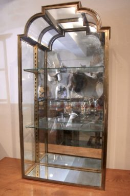 Pair of Stunning Brass 1920s Display Cabinets with Curved Glass Detail - POA
