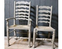 Set of Ten 20th Century Ladder Back Chairs