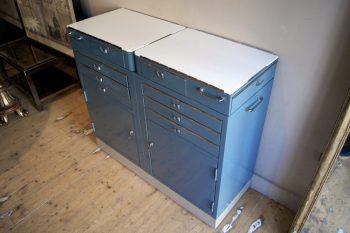 1960's Metal Dental Cabinet with Drawers and Cupboard
