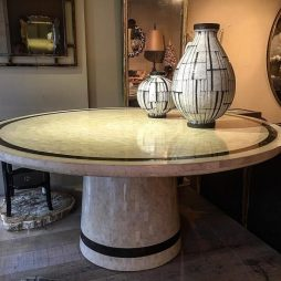Stunning Large Circular Coral ,Tortoiseshell and Brass Veneered Table Circa 1970