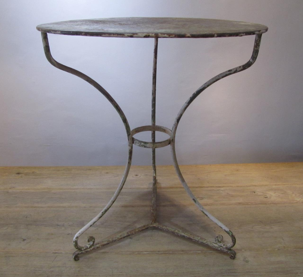 Antique French Wrought Iron Cafe Table Interior