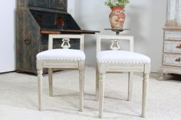 Pair of Swedish Painted Gustavian Style Stools
