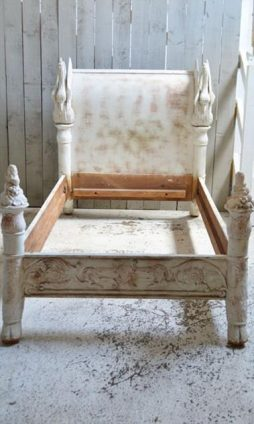 Antique 19th Century Carved Wood Bed