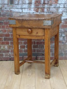 Rustic Antique French Butchers Block On Stand