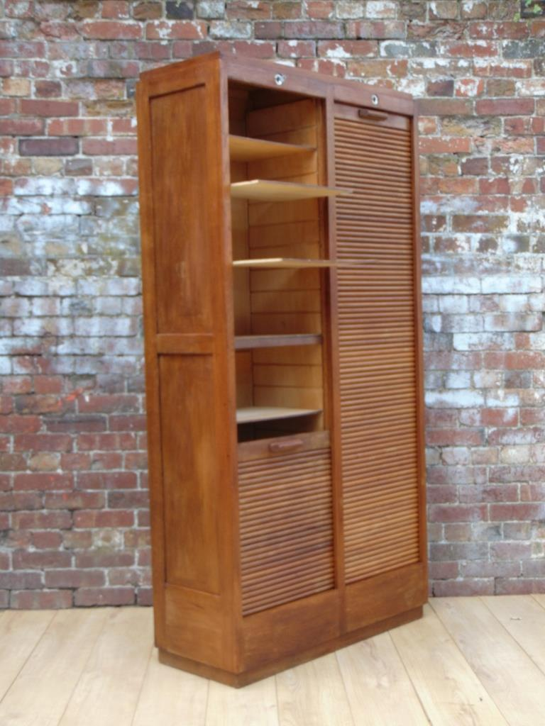 Art Deco Industrial Tambour Front Cabinet Interior