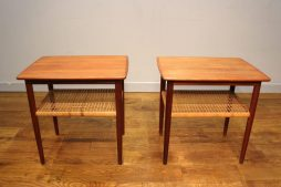 Pair of Danish Mid-Century Teak and Cane Lamp Tables