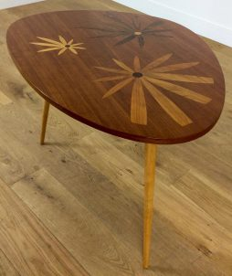 Mid Century Table with Inlaid Floral Design