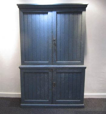 19th Century English Antique Painted Pine School Cupboard