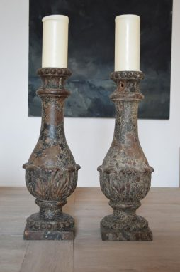 Pair of Antique Cast Iron Balustrade Candlesticks
