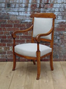19th C Newly Upholstered Cherry Wood Desk Chair