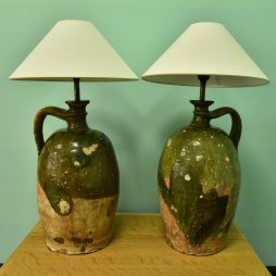 Antique 18th century Oil Jars converted to lamps.